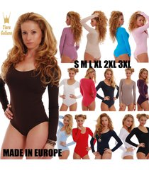 women cotton long sleeve bodysuit scoop round sheer neck bikini 1380 leotard top