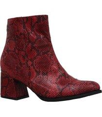 botín costanza rojo femenino elaborado en cuero pinton, altura 5,5 venneto-be yourself
