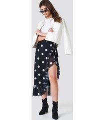 na-kd trend mesh overlap maxi skirt - black