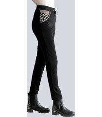 broek alba moda zwart::taupe::goudkleur