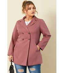 chaqueta de manga larga con bolsillos laterales y cuello de solapa de talla grande yoins