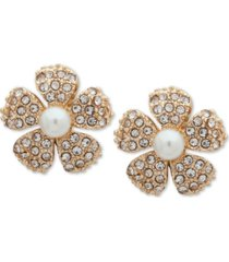 anne klein gold-tone pave & imitation pearl flower clip-on button earrings