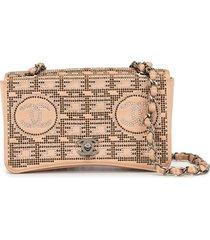 chanel pre-owned rhinestone chain shoulder bag - neutrals