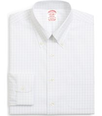 brooks brothers madison classic fit stretch windowpane dress shirt, size 18.5 - 37 in true white at nordstrom