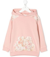 bonpoint floral-panelled hoodie - pink