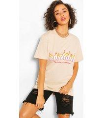 babygirl flame print t-shirt, sand