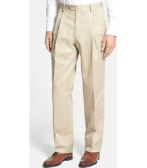 men's berle pleated classic fit cotton dress pants, size 38 x unhemmed - beige