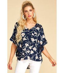 yoins blusa con cuello de pico y estampado floral azul oscuro diseño