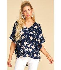 yoins blusa de diseño hueco con cuello en v y estampado floral azul oscuro