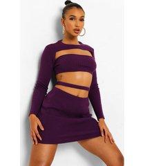 gebreide crop top met uitsnijding en rok set, purple