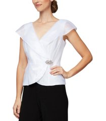 alex evenings portrait-collar embellished-side blouse