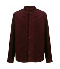 a.p.c. camiseta mangas longas de veludo cotelê - vermelho