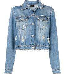 twin-set jaqueta jeans com aplicações - azul