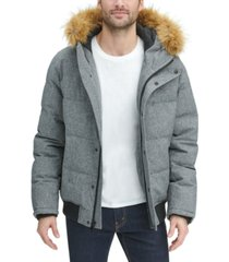 tommy hilfiger men's big & tall short parka jacket with faux fur hood