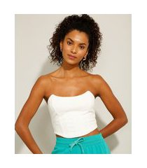top cropped corset com recortes tomara que caia off white