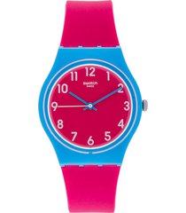 reloj fucsia-azul swatch
