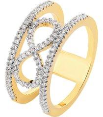 anel duplo infinito cravejado cristais zircônias banhado a ouro 18k