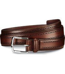 men's allen edmonds manistee brogue leather belt, size 32 - dark chili