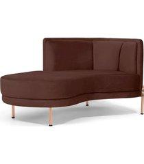 sofá chaise longue para sala de estar ferrara veludo marrom - gran belo - tricae