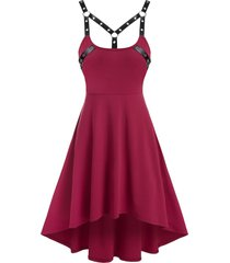 harness insert sleeveless high low gothic dress
