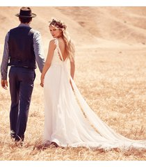 spaghetti straps lace and chiffon summer beach wedding dress boho bridal gown