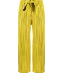 pleats please issey miyake cropped micro-pleated trousers - yellow