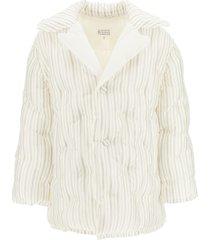 maison margiela striped midi down jacket
