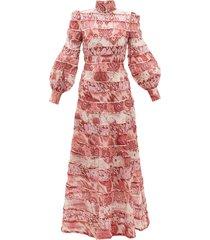 wavelength tiered linen-blend maxi dress