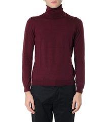 zanone burgundi high neck wool sweater