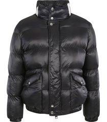 alexander mcqueen high-neck logo paint padded jacket