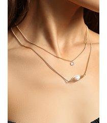 collar redondo de diamantes de imitación con decoración de perlas artificiales