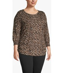 lane bryant women's 3/4-sleeve cheetah print ruched-side sweater 22/24 cheetah print