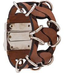 gianfranco ferré pre-owned 2000s archive oversized bracelet - brown