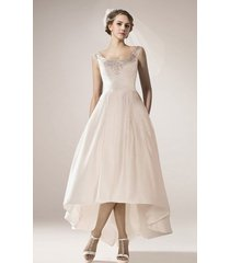 straps beading high low ivory satin wedding gown dresses with back buttons