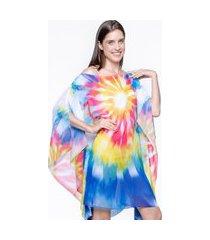 kaftan 101 resort wear vestido crepe saida de praia tie dye colorido