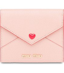 miu miu madras love envelope card holder - pink
