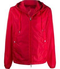 moncler jaqueta com capuz e patch de logo - vermelho