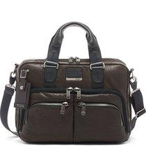 men's tumi alpha bravo albany slim commuter briefcase - brown