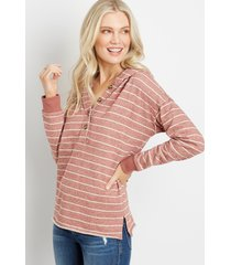 maurices womens striped button front hoodie brown