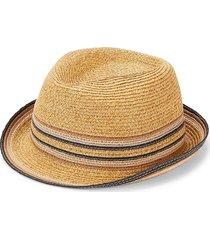 marcus adler men's striped straw fedora - brown