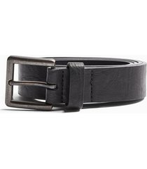 mens skinny faux leather belt with brushed silver buckle in black