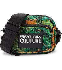 versace jeans couture women's logo jungle-print crossbody bag - black multi