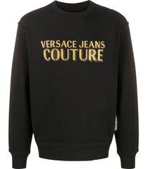 versace jeans couture logo printed sweatshirt - black