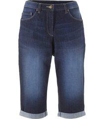 stretchiga jeansbermudas med komfortmidja
