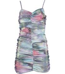 multicolored ruched mini dress
