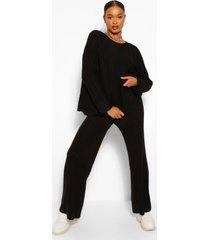 premium ribgebreide broek met wijde pijpen - gebreid setje, zwart