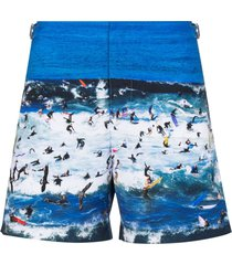 orlebar brown bulldog surfer beach swim shorts - blue
