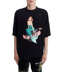men's palm angels logo mermaid graphic t-shirt