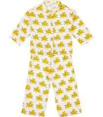 cat all over woven pyjamas pyjamaset geel bobo choses