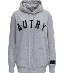 autry grey cotton hoodie with logo